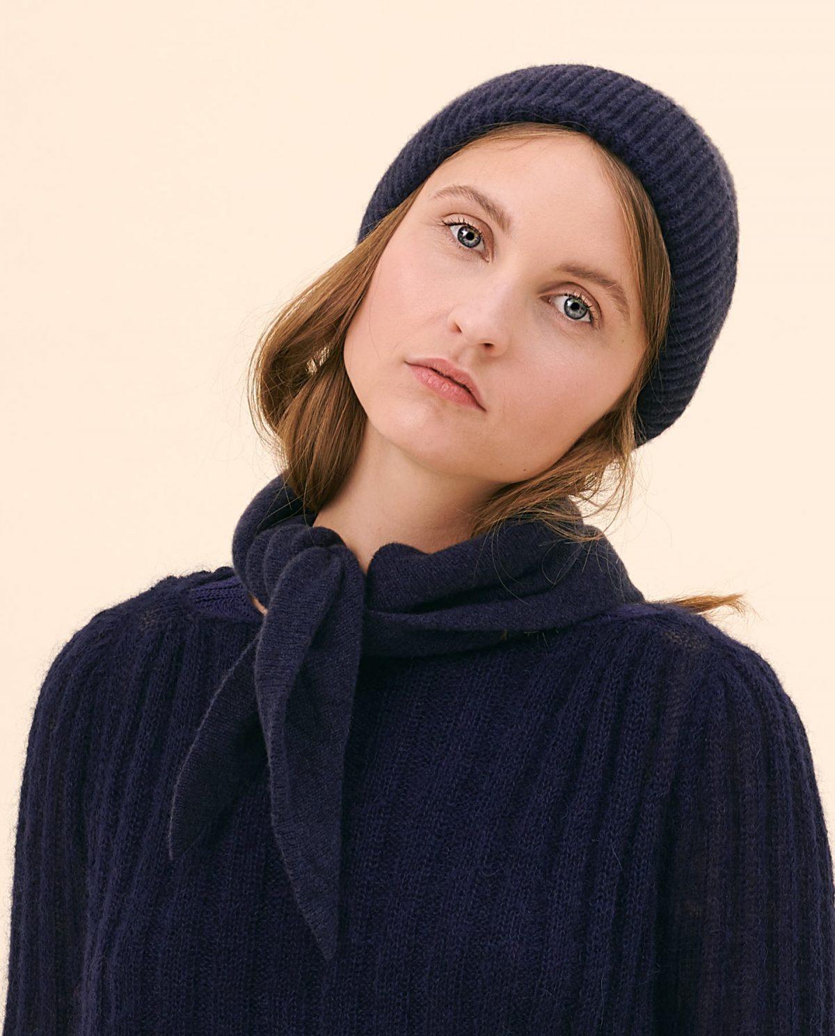 Mütze Schal nachtblau kaschmir