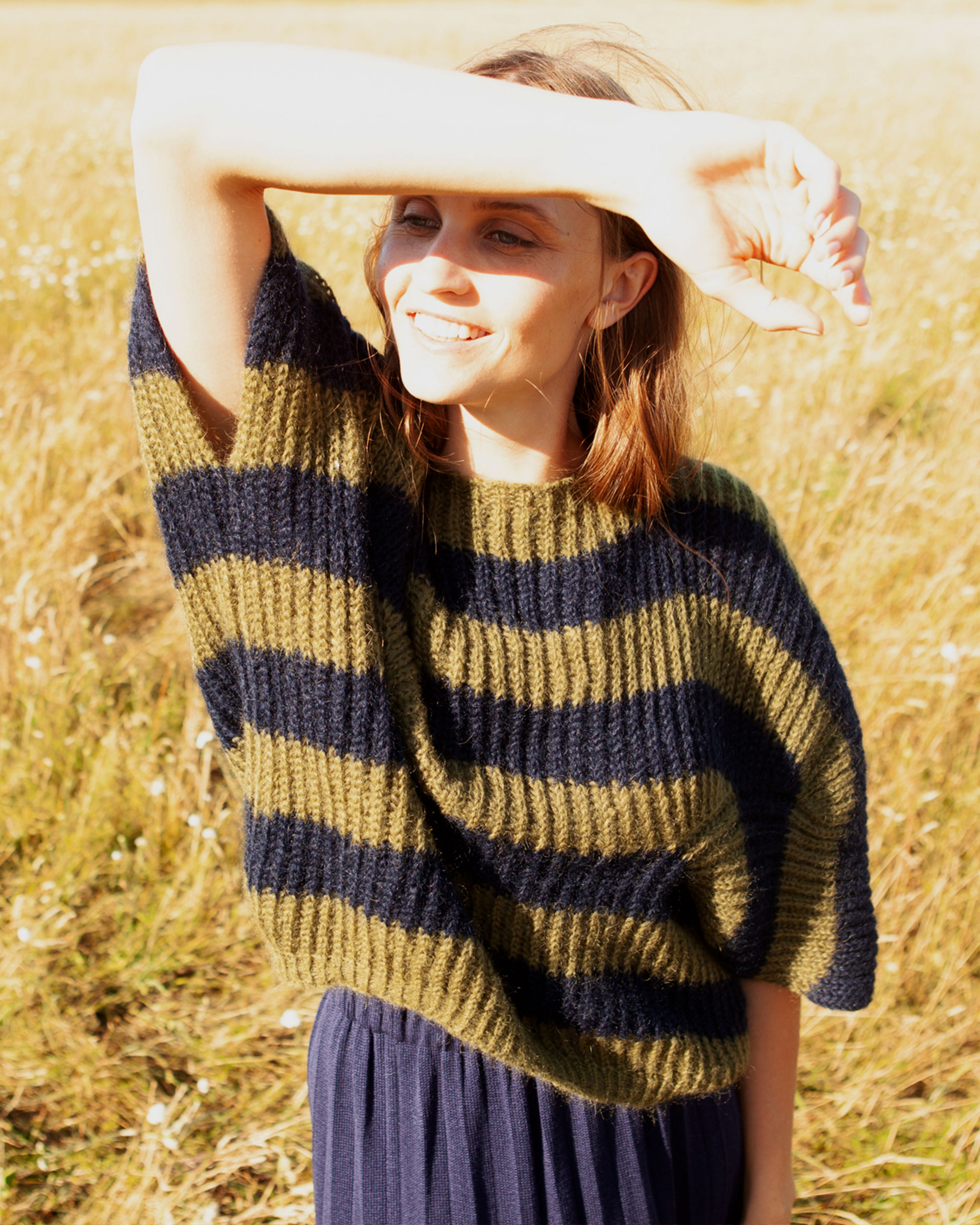 mohair sweater olive navy stripes