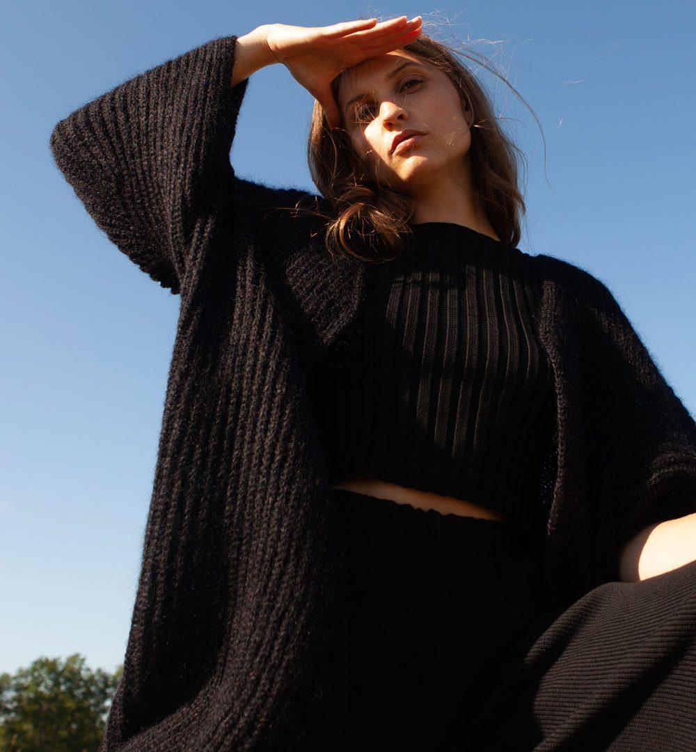 knit coat mohair black